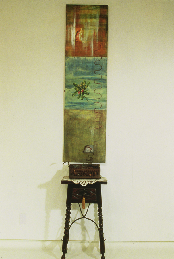 "Perpetua's Ladder  ©1993 Mixed Media 72"" x  20"""