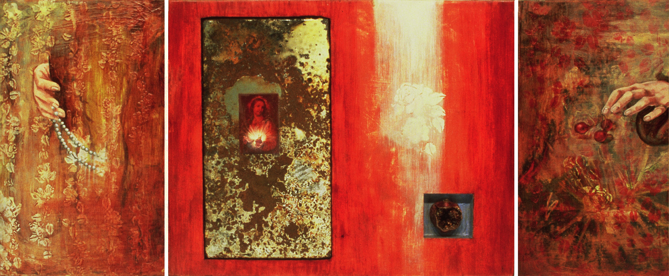 "Sins and Gifts of the Virgin Mother  ©1993 Mixed Media on Wood Panel 24"" x 60 "" Collection of Rene Kock, Point Arena, CA"