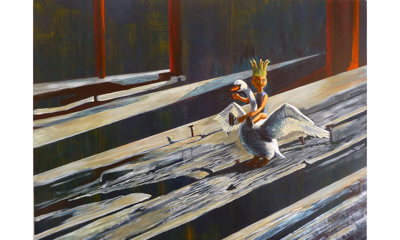 "Swan Princess ©2010 Acrylic on Wood Panel 36"" x42"""