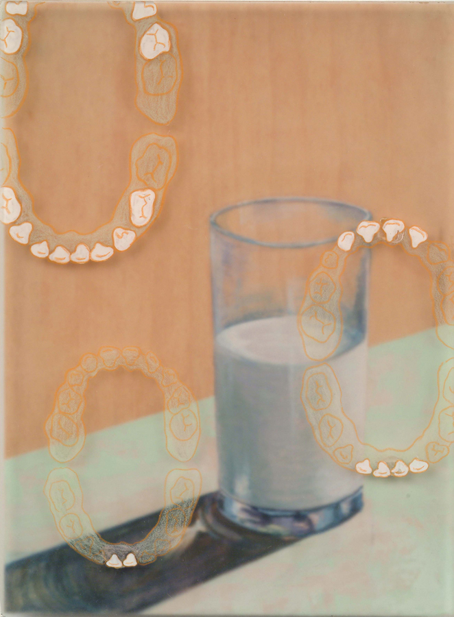 "Milk Teeth  © 2003 Acrylic, Egg Tempera and Colored Pencil on Acrylic and Wood Panel 8"" x 6"""