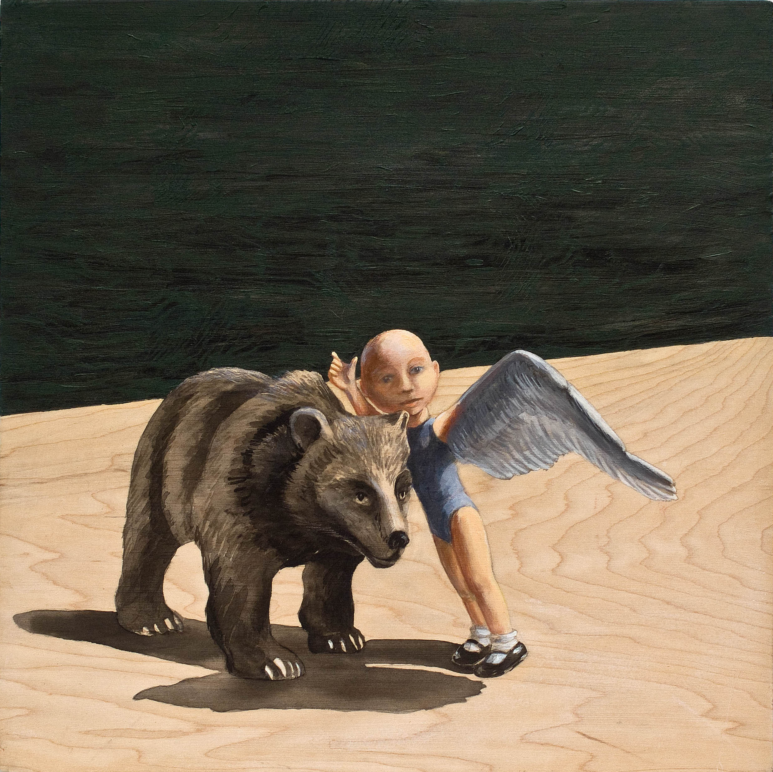 "The Bear  © 2010 Acrylic and India Ink on Wood Panel 12"" x 12"""