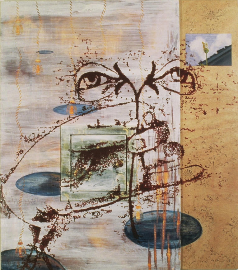 "Saint Lucy  ©1994 Encaustic, Oil and  Found Objects on Wood Panel 46"" x  35"""