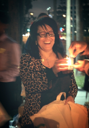 Dolores at mental health awareness candlelight vigil this year.