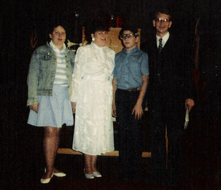 Cris' family on the day her husband became a pastor of First Baptist Church in Stringtown, OK in 1985.