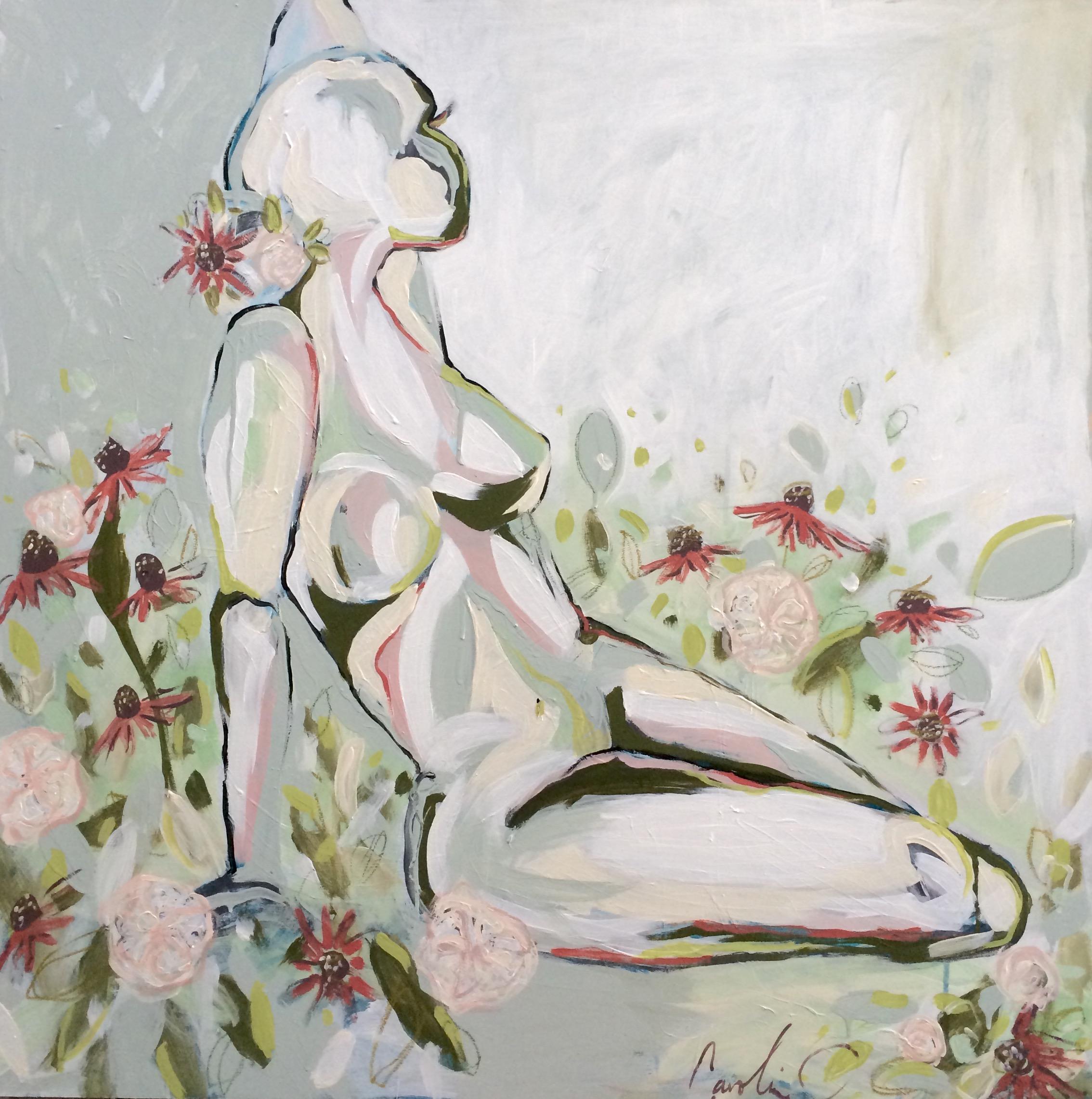 Garden Roses & Blush Nude 30x30 birch panel