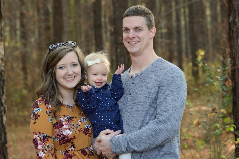 Carly and Hunter Speeg and their daughter, Lois (age 2)