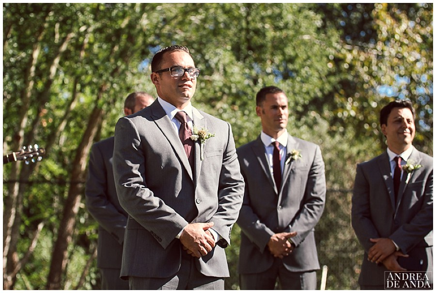 Even after a firs look, the expression on the grooms face when he sees his bride walking down the aisle is priceless !