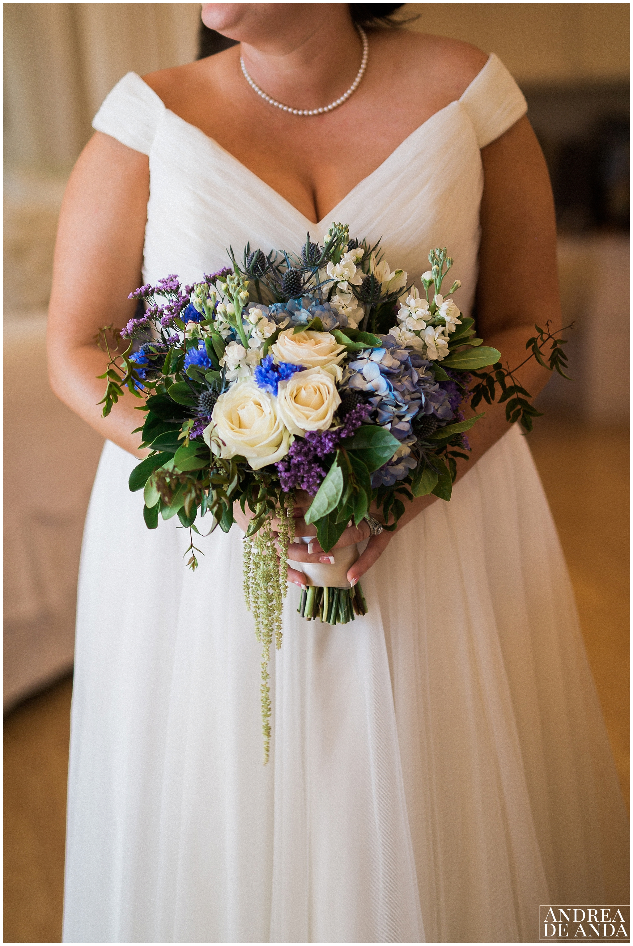 This dream bouquet with blue, green and a hint of purple is so chic. made by  Flowers to you by Jessica , inhouse designer of  the gardens at Peacock Farms .