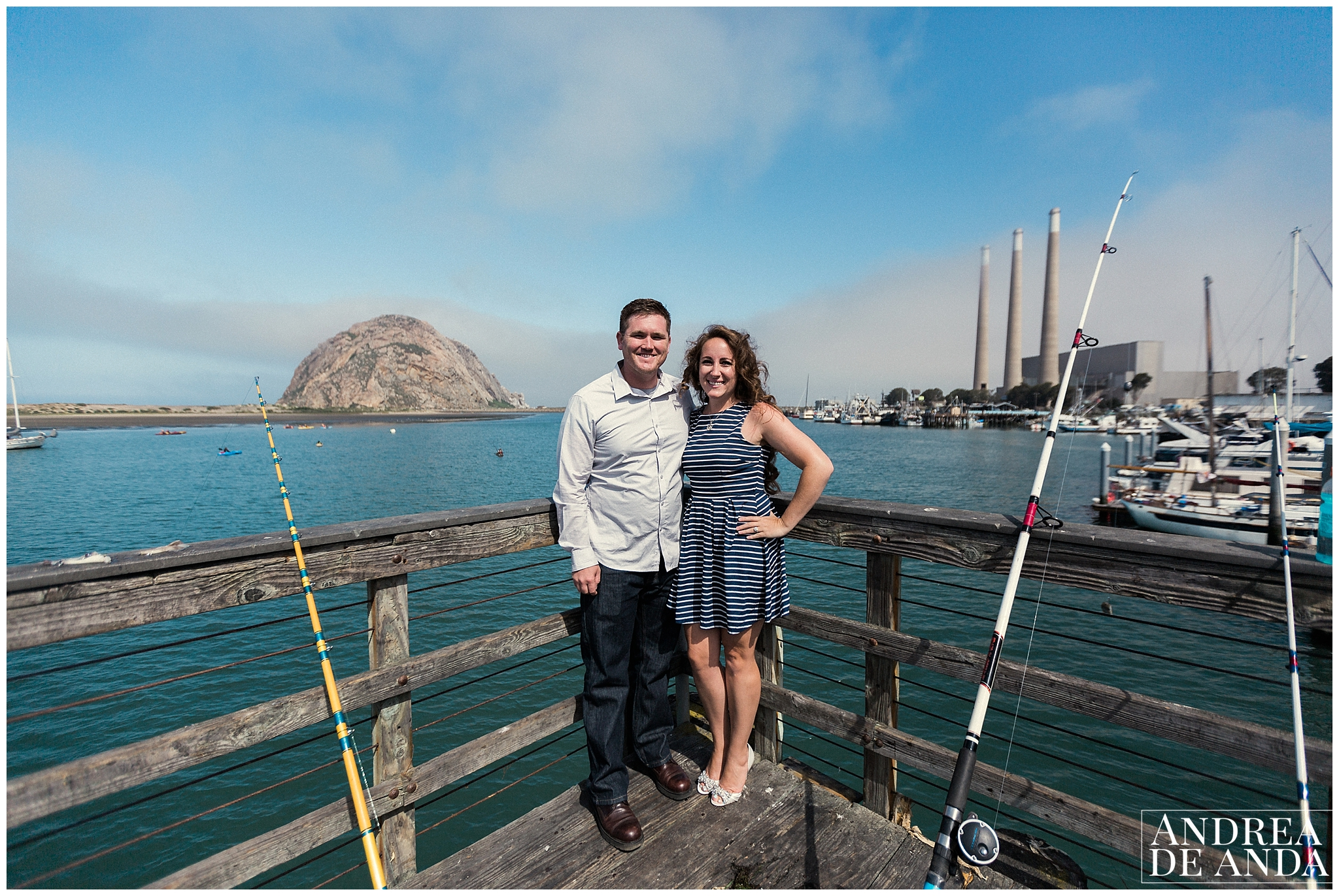 we recreated this image from their wedding, it was perfect with the Morro Rock to the left and the towers to the right ! oh yes and there was some fishing going on there !