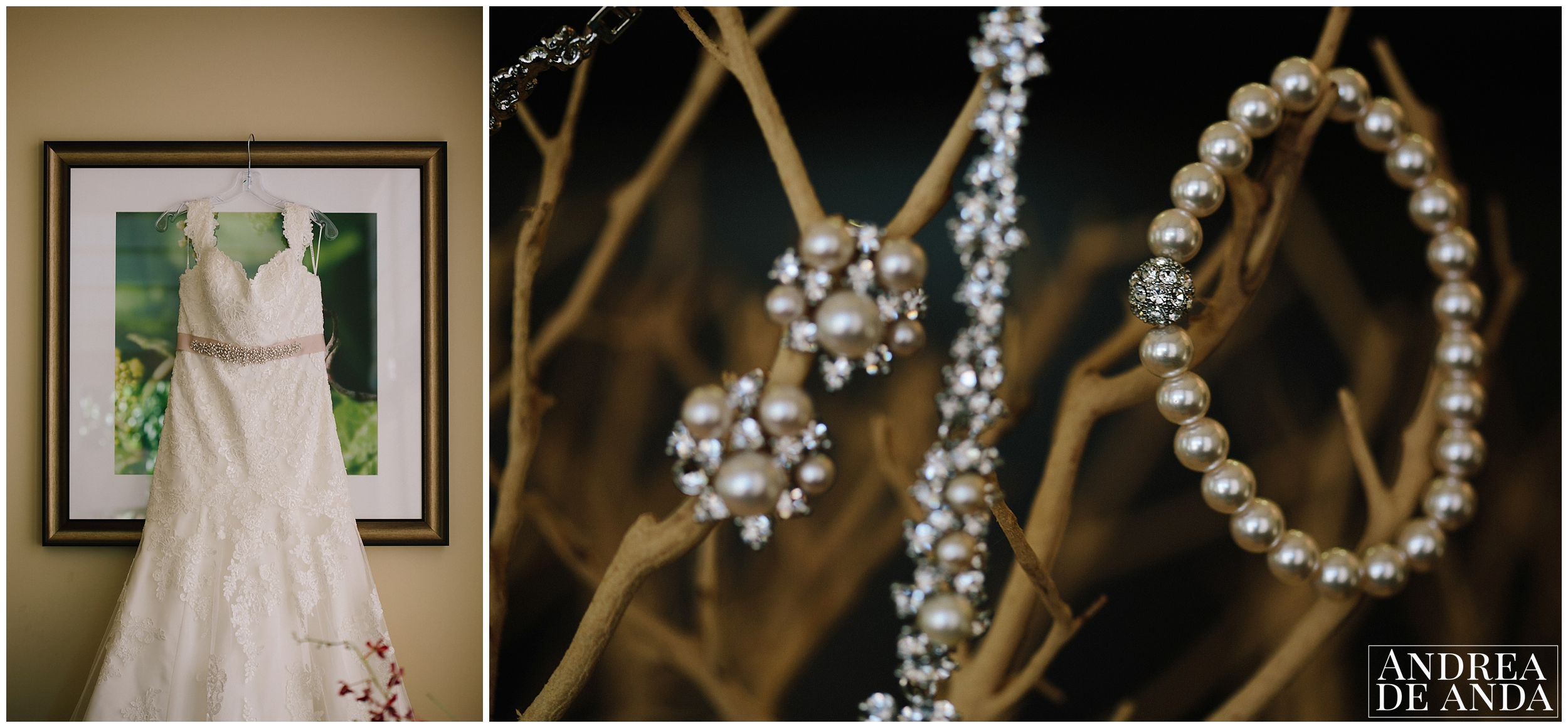 Bridal dress set up on wall art, bridal jewelry proped up for details session, shot with macro lens