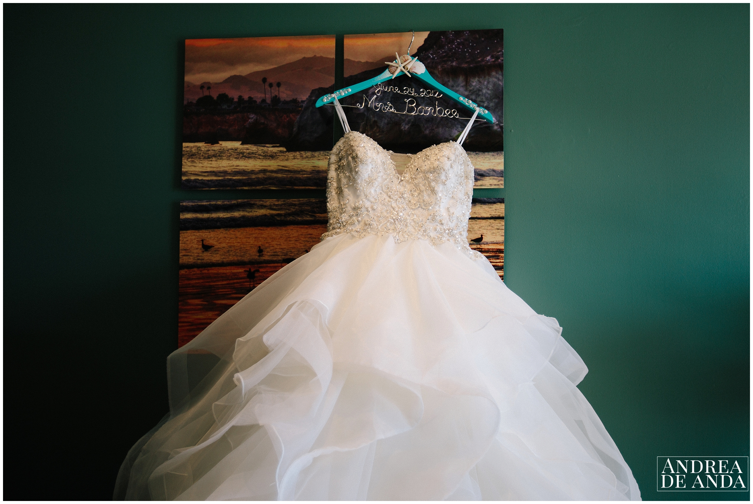 Wedding dress styled for picture at Sea Venture Hotel in Pismo Beach