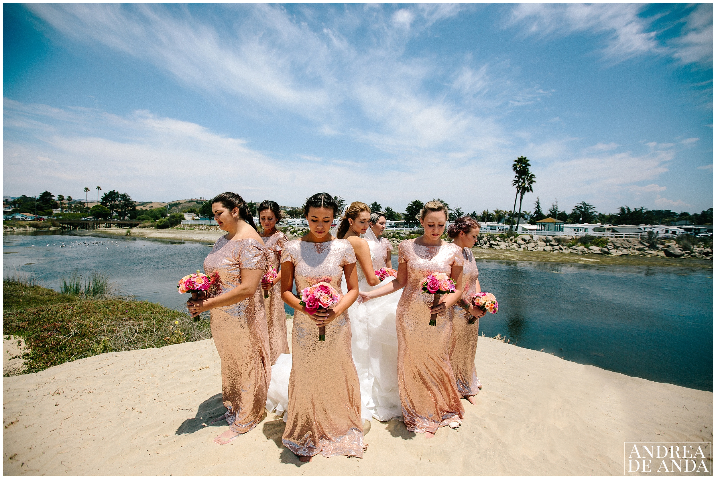First Look, Bridesmaids covering Bride at Sea Venture Hotel Pismo Beach