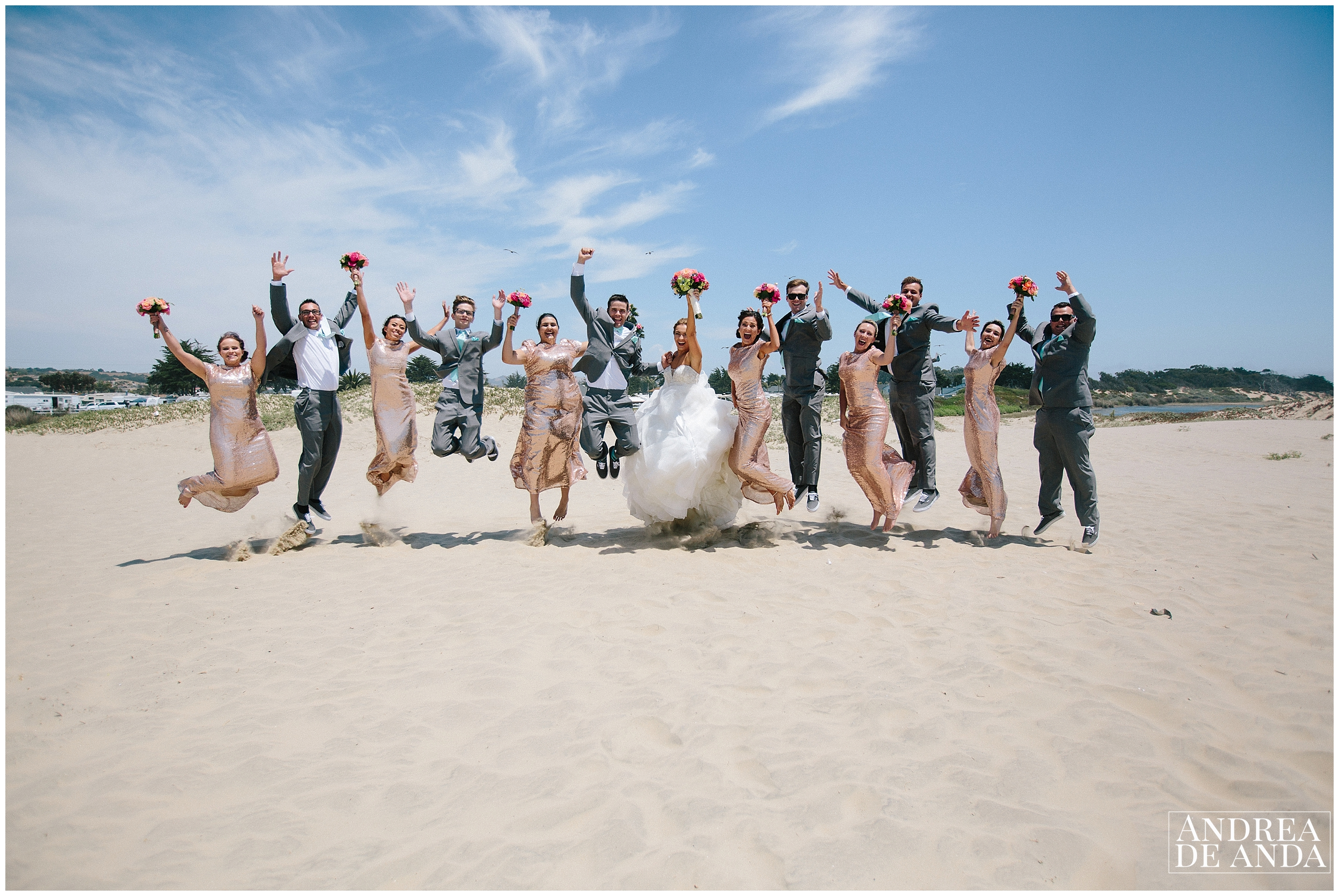 Bridal Party jumping at Sea Venture Pismo Beach