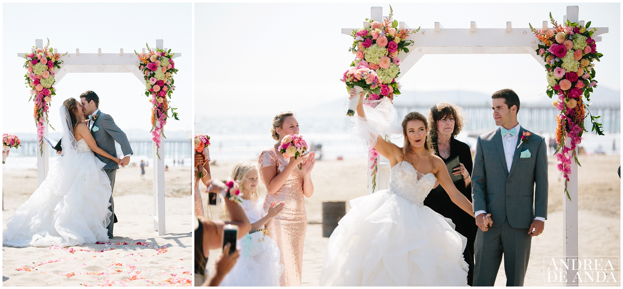 First Kiss and presenting married couple at the beach wedding