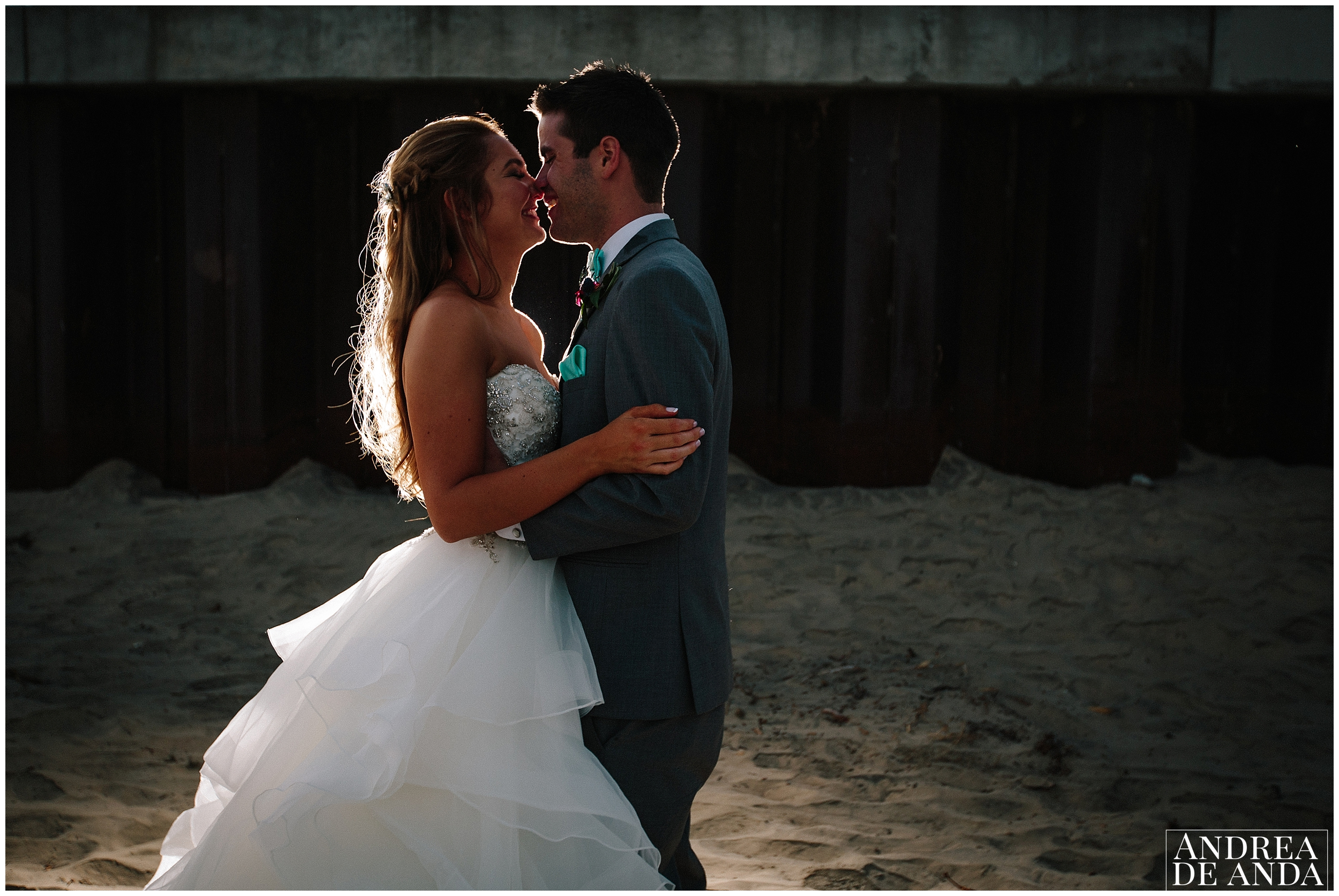 Sunset photography of bride and groom at sea venture in Pismo beach