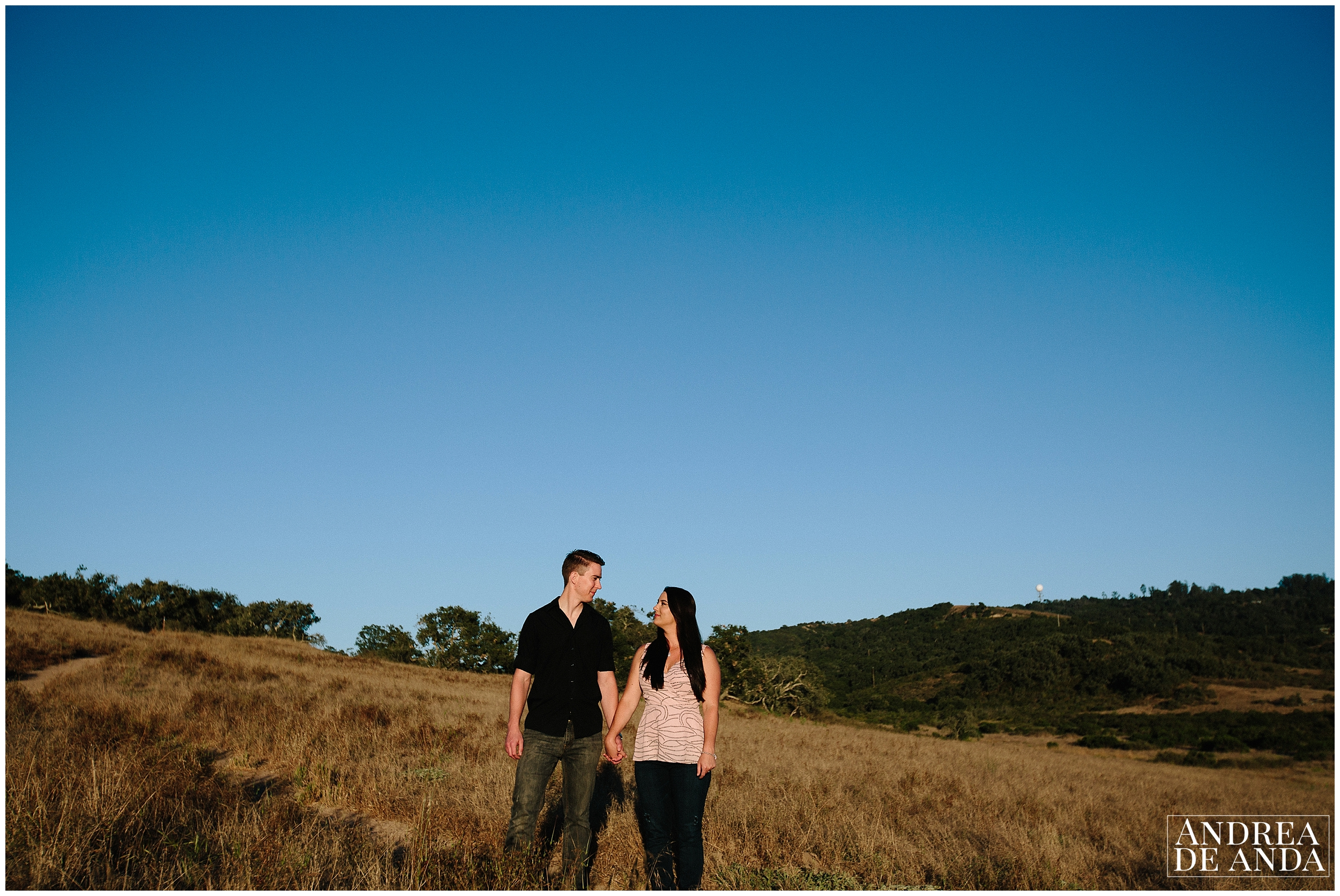 Groom and Bride facing each other Engagement session Orcutt Hills by Andrea de Anda Photography