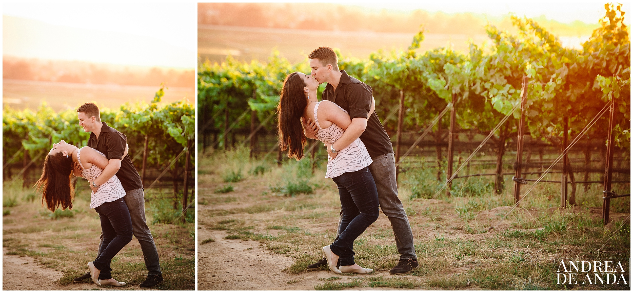 Extreme posing, Long dip, Engagement session Orcutt Hills by Andrea de Anda Photography