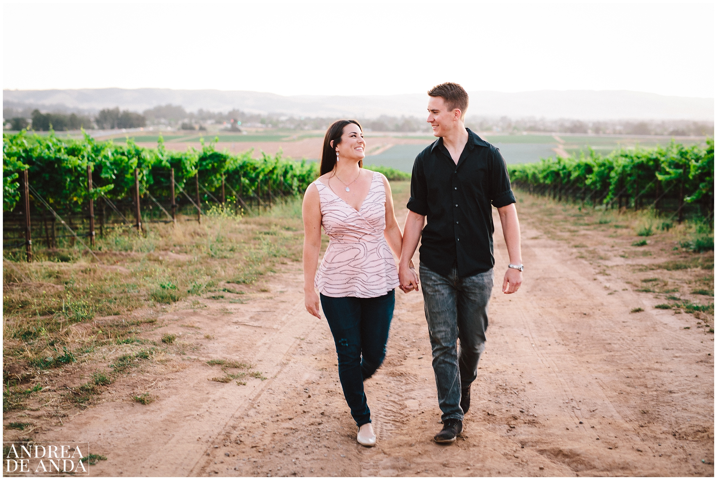 Walking in the vineyard Engagement session Orcutt Hills by Andrea de Anda Photography