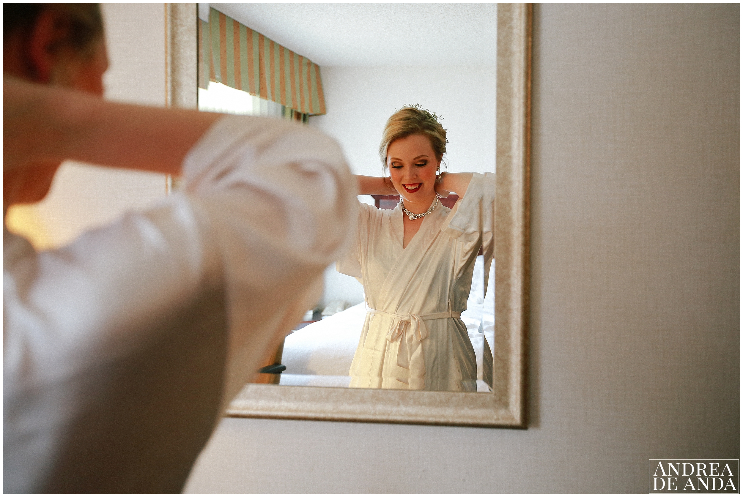 Bride getting ready at hotel room