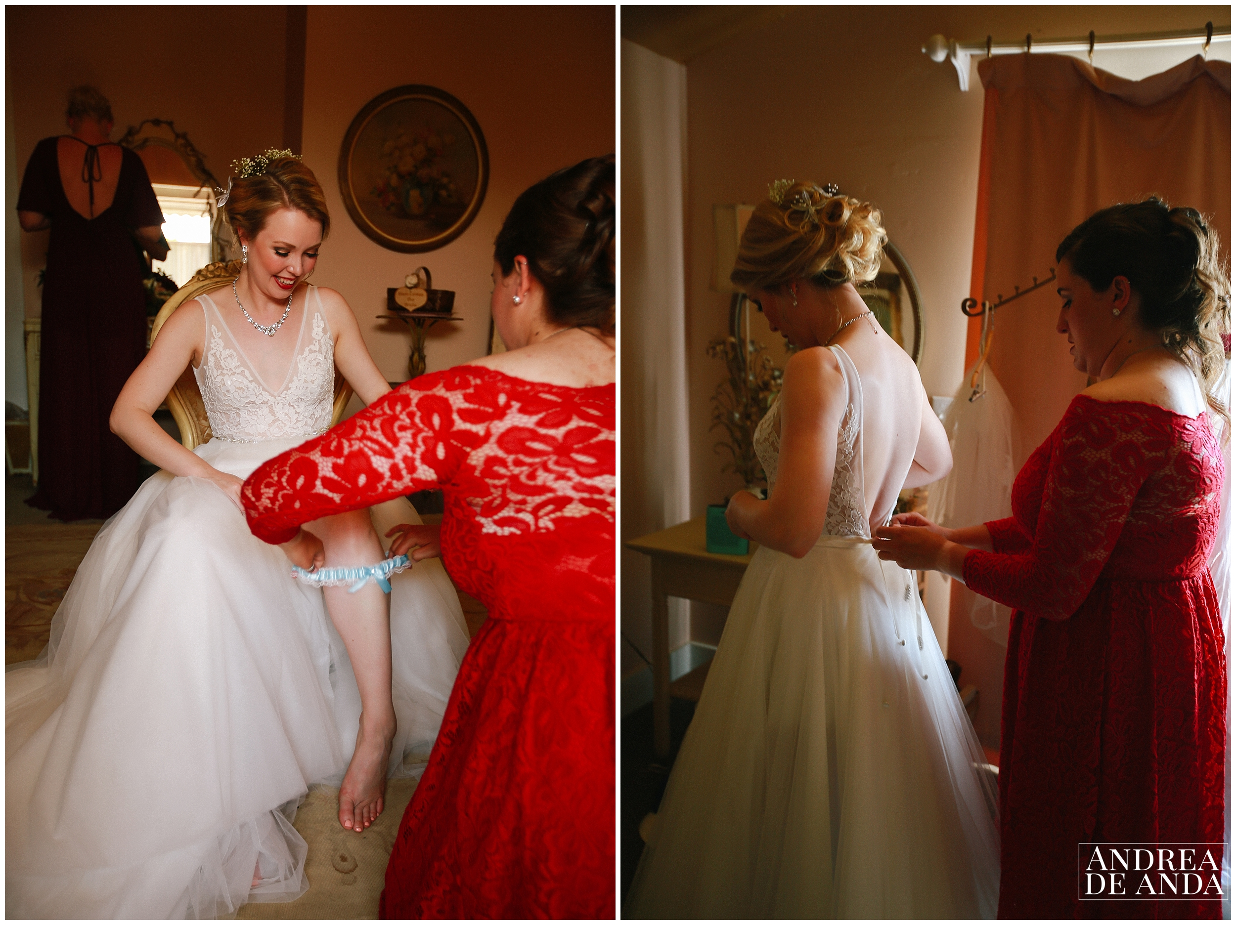 bride getting ready at Dana Powers bridal suite