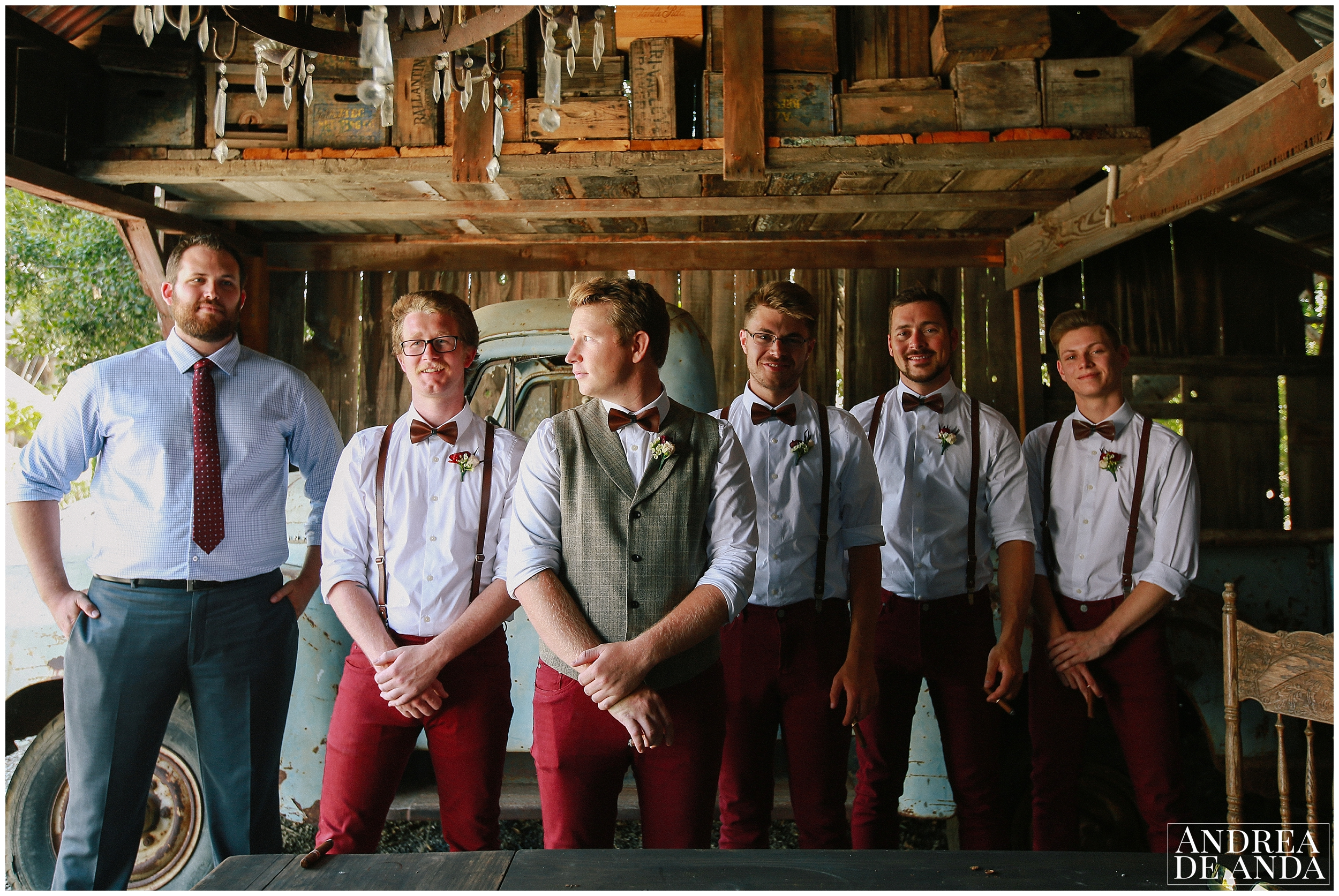 Groom & Groomsmen photo session at Dana Powers House and Barn
