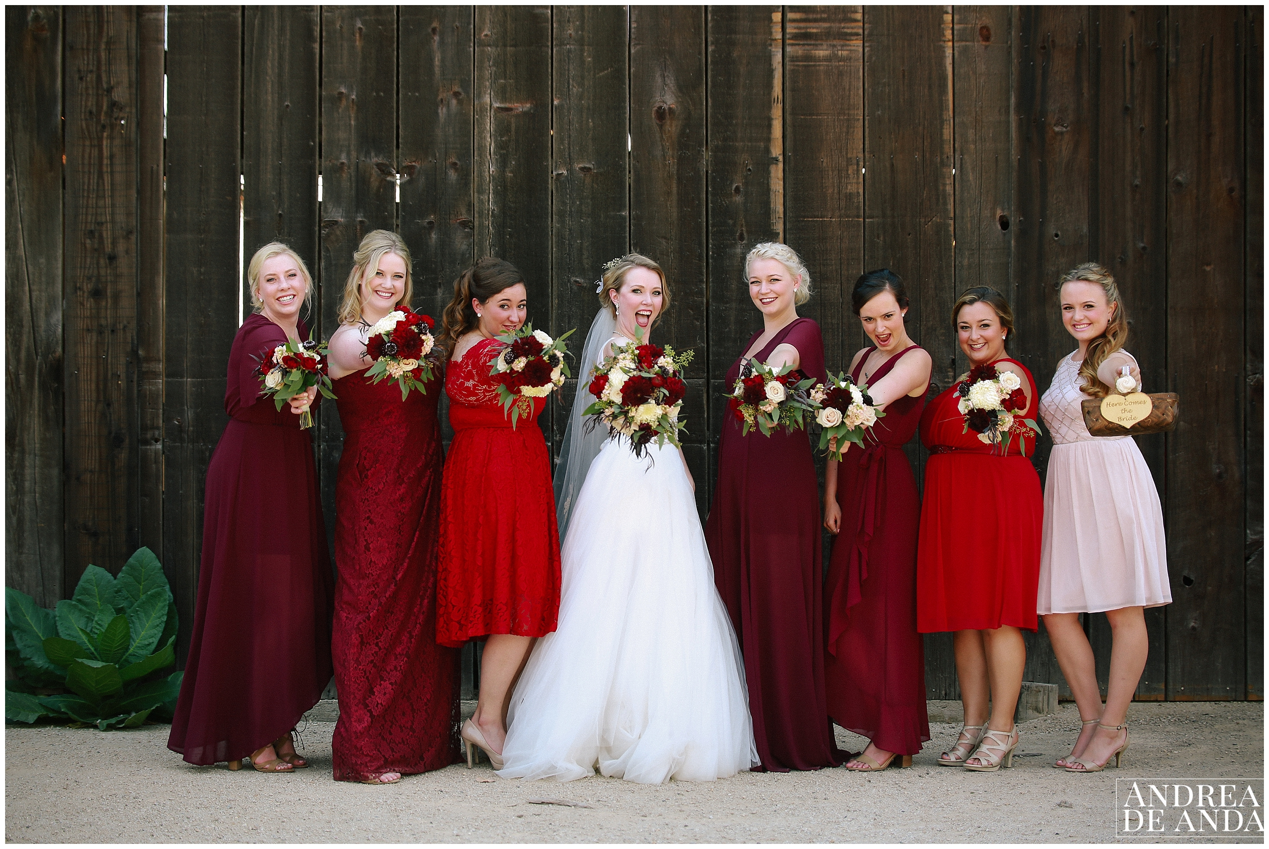 Bride and Bridesmaids photo session at Dana Powers House & Barn