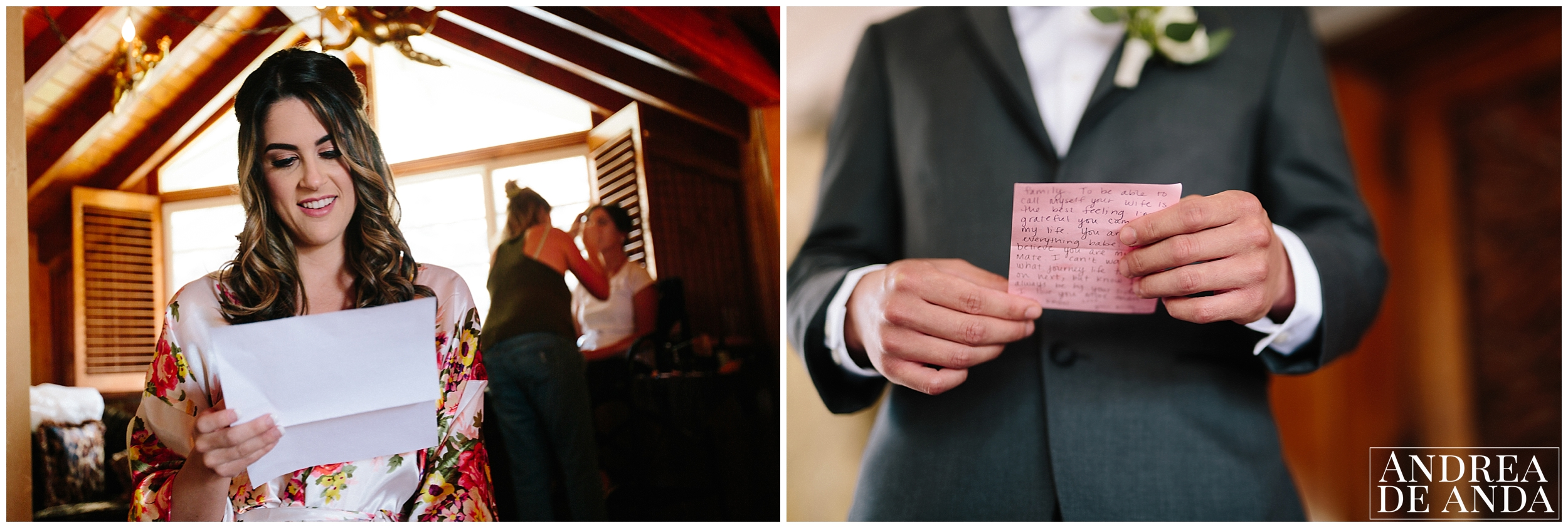 Letter exchange between bride and groom  Madonna Inn wedding. San Luis Obispo Wedding Photographer