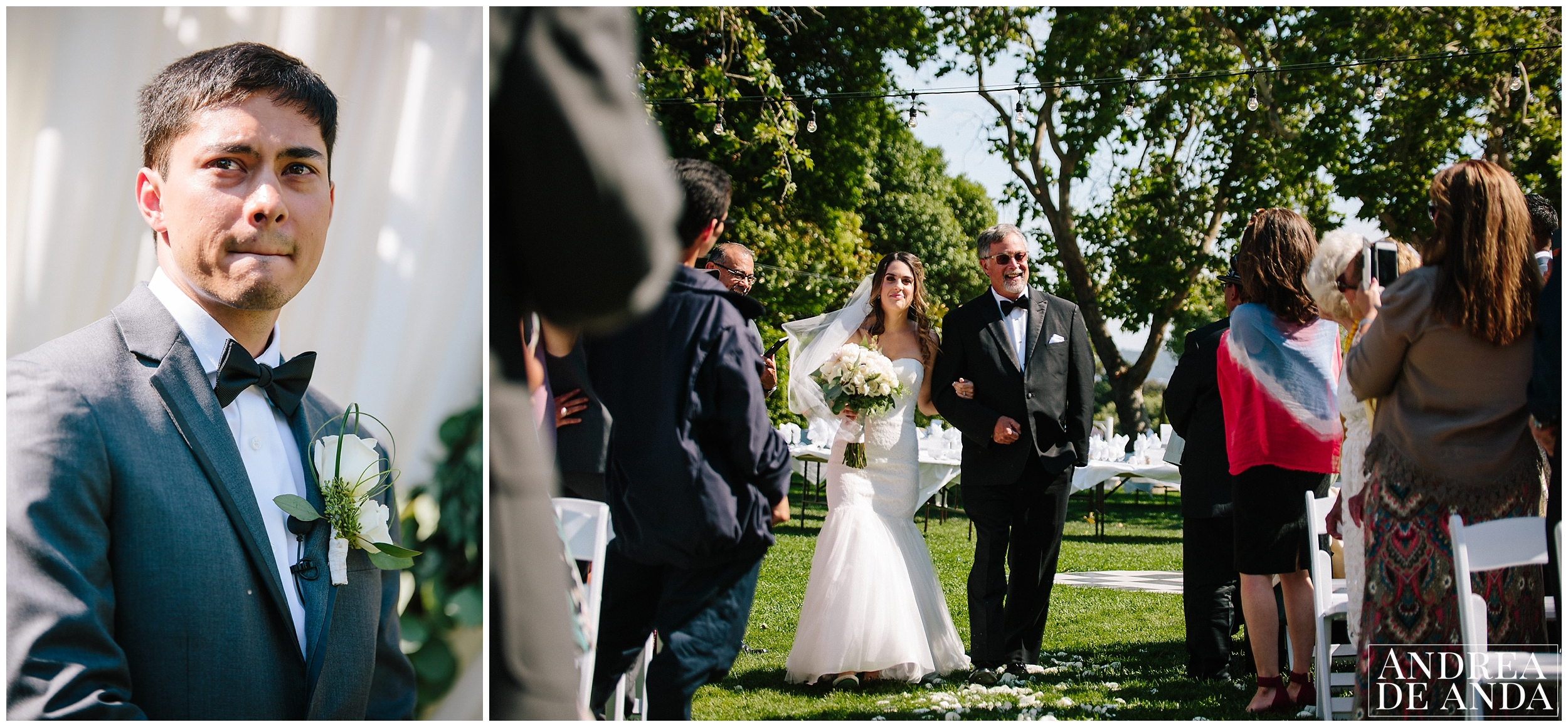 Bride walking down the aisle, Secret Garden wedding ceremony Madonna Inn wedding. San Luis Obispo Wedding Photographer