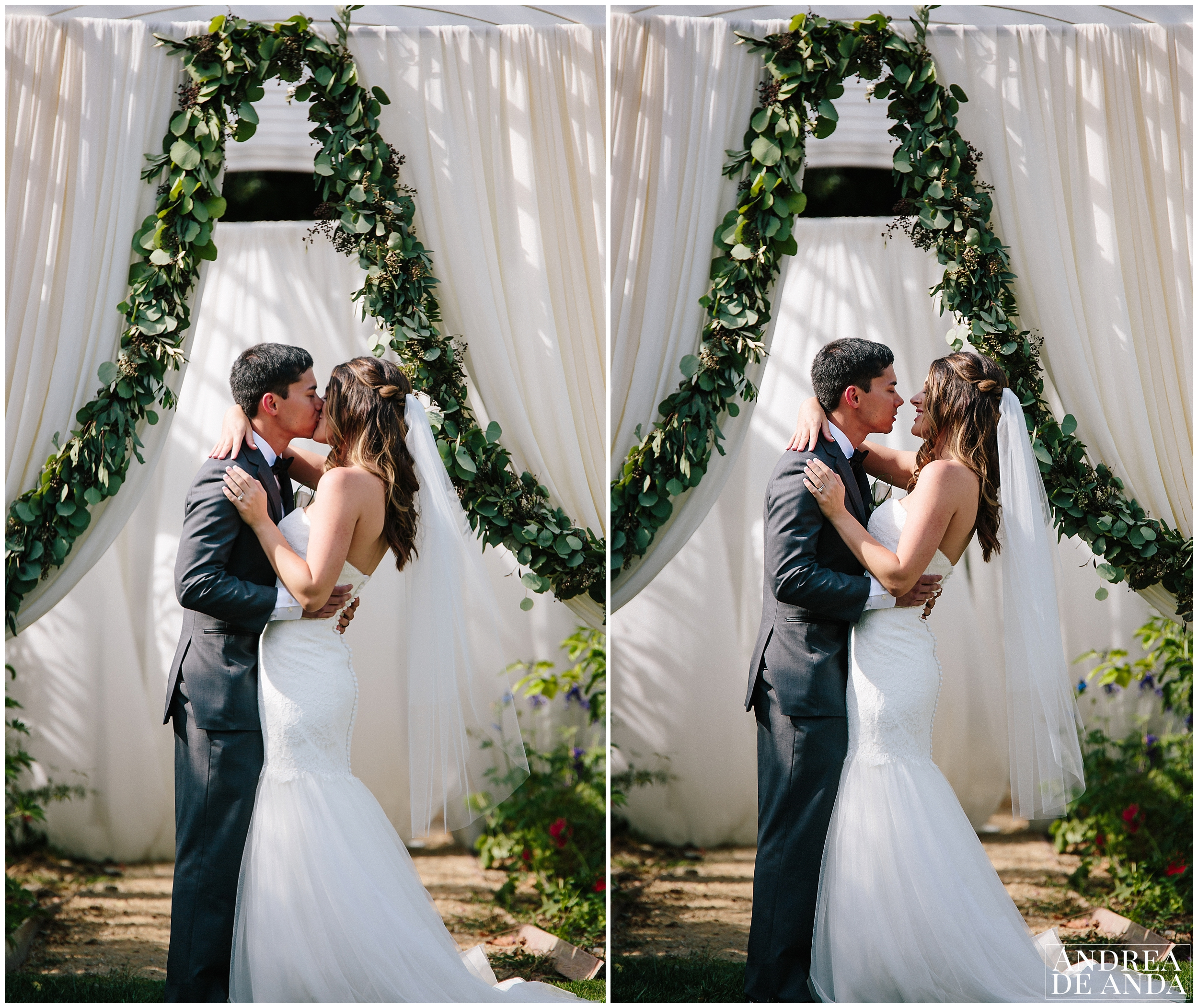 First Kiss, Secret Garden wedding ceremony Madonna Inn wedding. San Luis Obispo Wedding Photographer