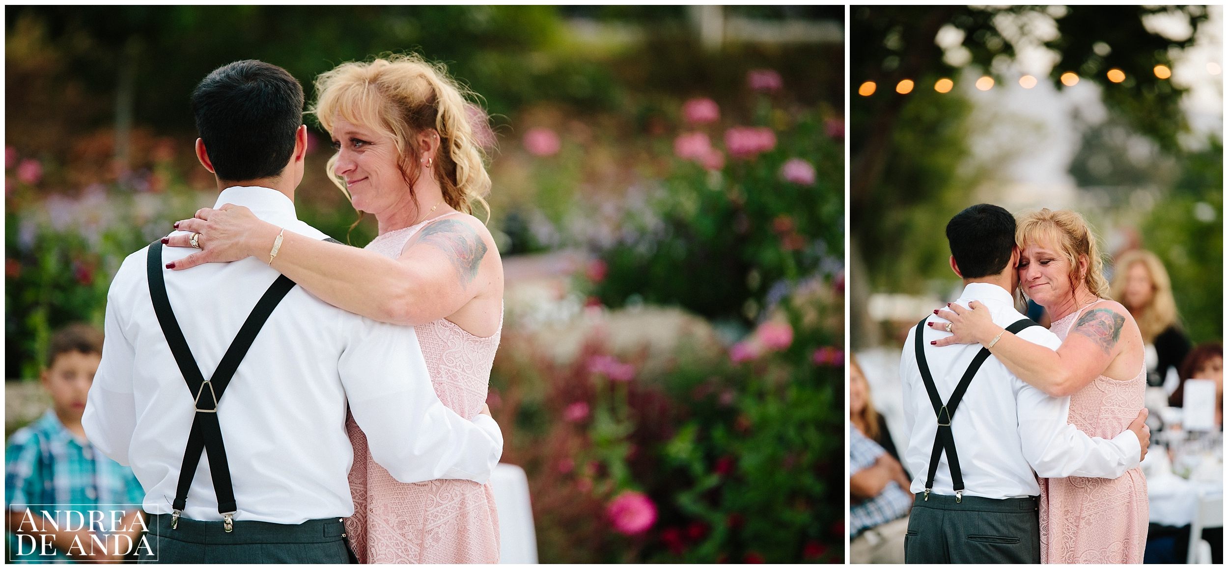 Mother son dance, Secret Garden wedding ceremony Madonna Inn wedding. San Luis Obispo Wedding Photographer