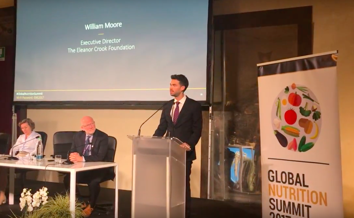 photo: ecf executive director will moore speaking at the global nutrition summit in milan