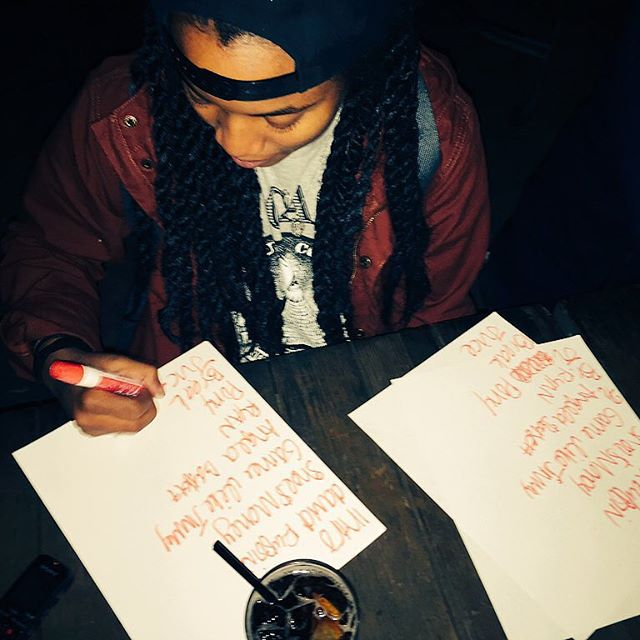 Megz from Magna Carda writing the set list! #AustinMusic #Austin #ATX #ATXmusic #MagnaCarda