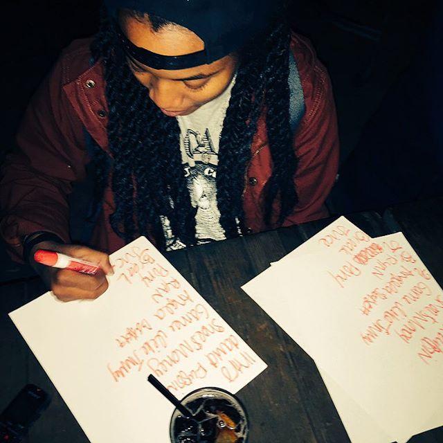 Megz from Magna Carda writing the set list! #AustinMusic #Austin #ATX #ATXmusic #MagnaCarda