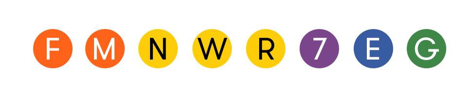 Subway lines : F, M, N, W, R, 7, E, G