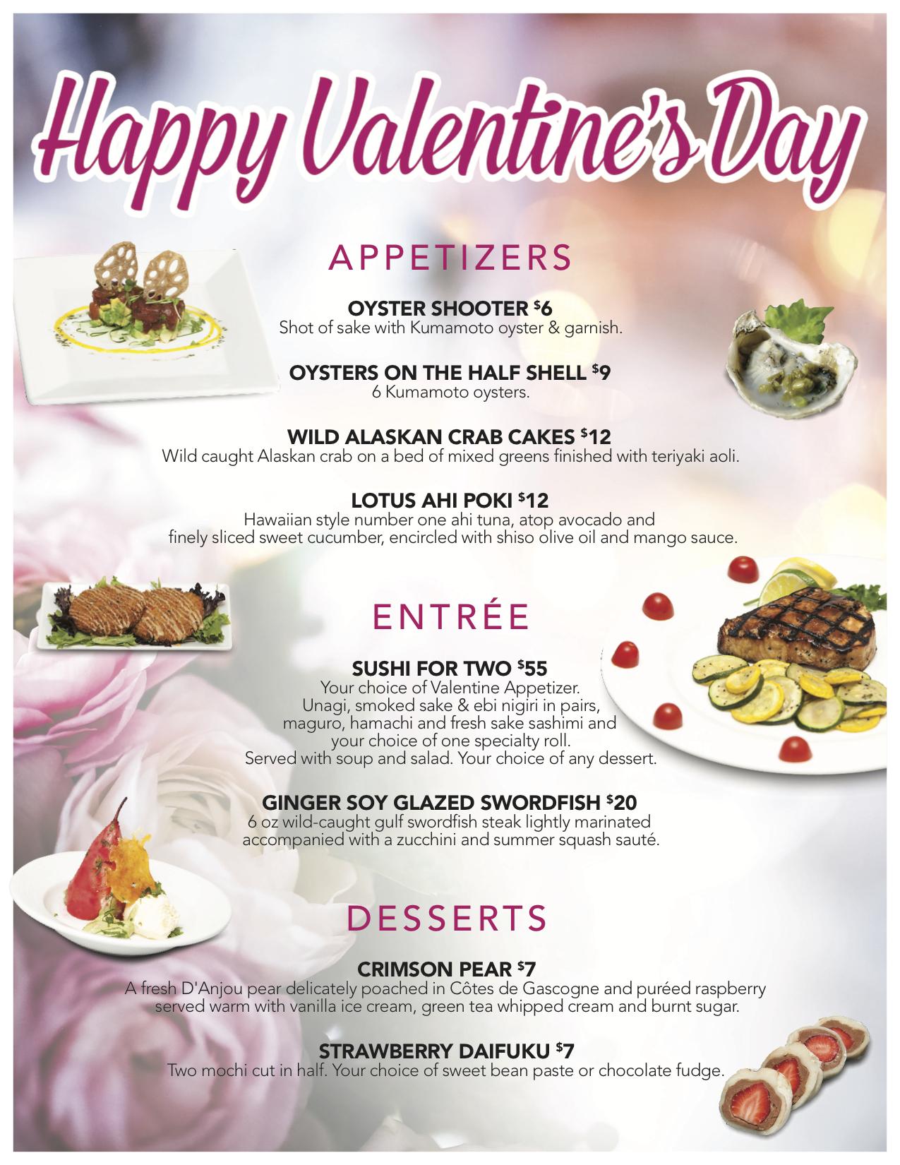 Valentine S Day Specials Sushi Hana Downtown Missoula Mt 549 7979