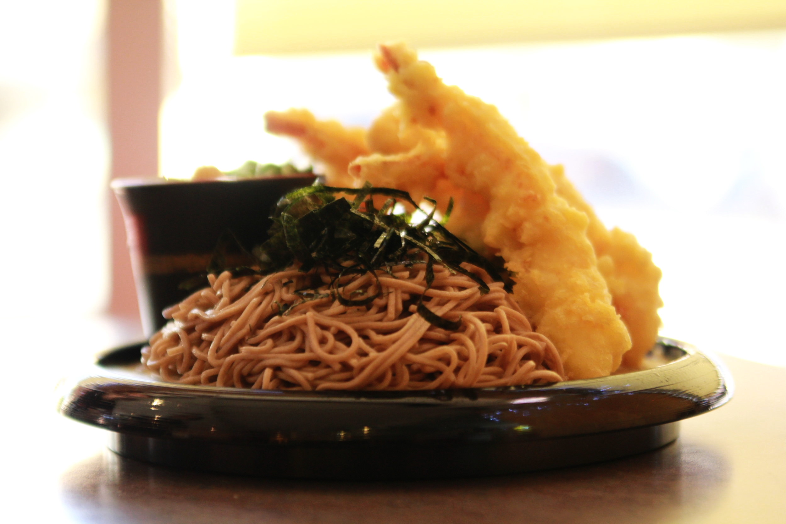 Hello! Spring is finally here and we have a classic Japanese dish on special! Zaru Soba with Tempura shrimp and vegetables. Swing in and have a bite!