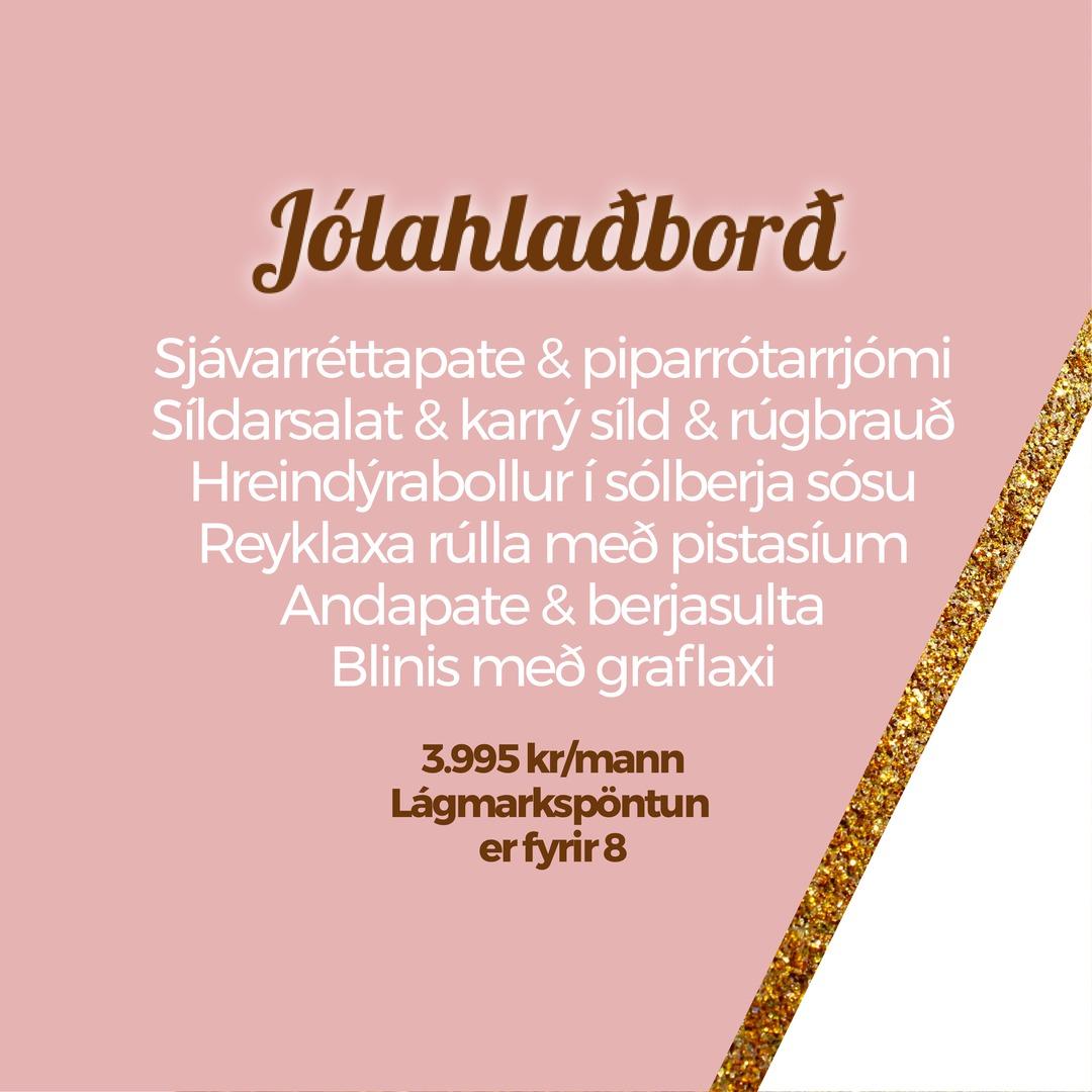 Leiðbeiningar - með Jólahlaðborði þegar heim er komið:Allir réttirnir koma uppsettir í fallegum einnota umbúðum sem hægt er að setja beint á veisluborð.