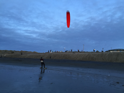 Kite boarding on the sand     Ocean Beach   5:33 p.m.