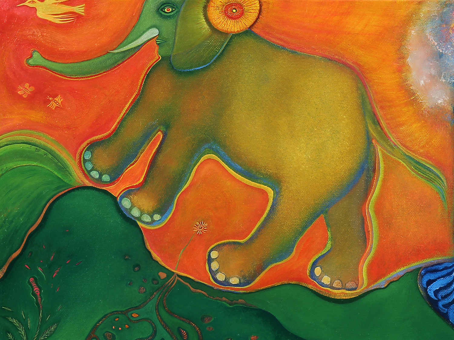 a detail from Anne's painting  Elephant Crossing