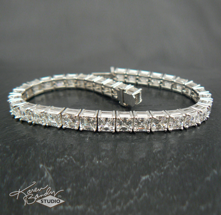 Here's the completed bracelet, 19.18 carats in platinum.