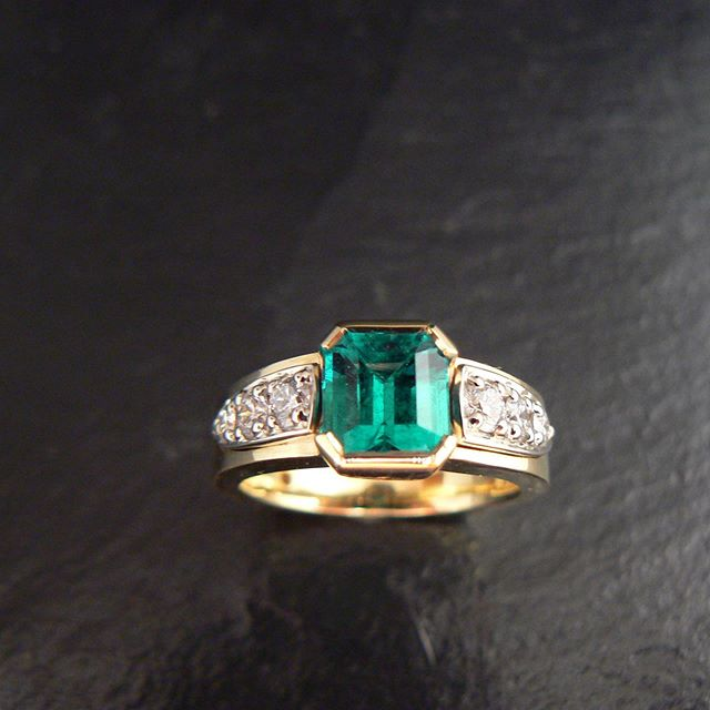 Recent custom design, emerald engagement ring.