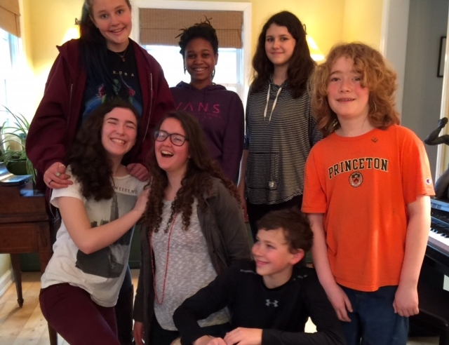 First Day Schoolers hanging out at Liz Carroll's house. Great food, good timesand delicious dessert was shared!