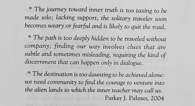 The following quote on community was read at the Rise of Meeting on Sunday, September 8.
