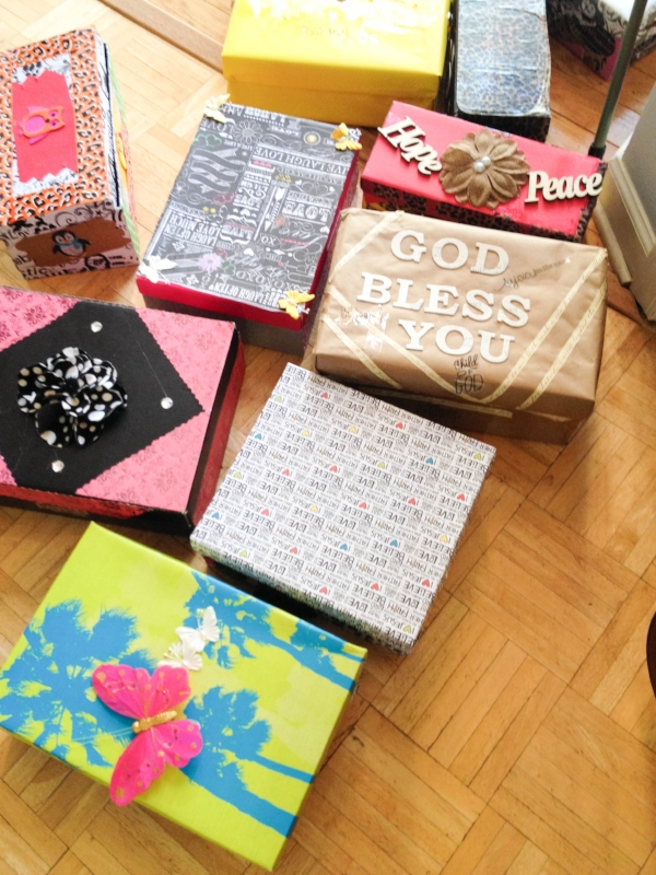 A few of the 50+ decorated shoeboxes the ladies helped make.