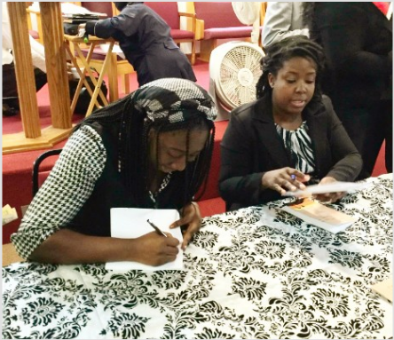 Shereece (left) and Kerry (right) at their first book signing.