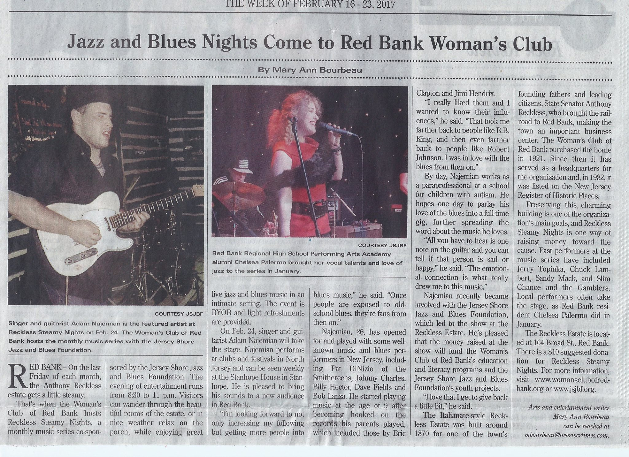 Adam was featured in the Two River Times on February 23rd, 2017, in advance of his performance at the Reckless Estate in Red Bank, NJ.