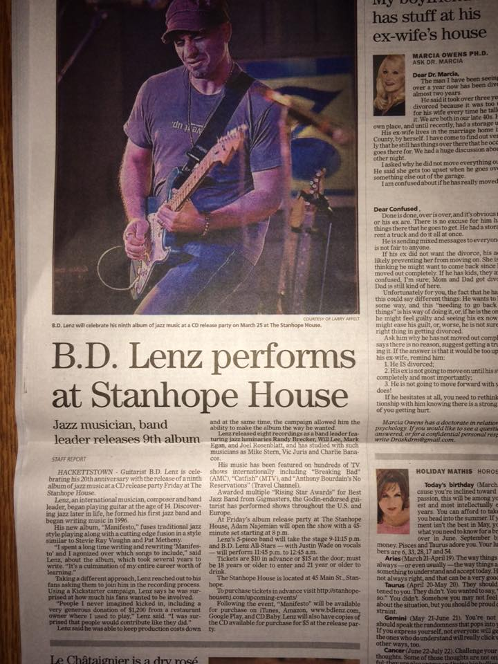Mentioned in The Daily Record for opening BD Lenz's CD release party at the legendary Stanhope House.