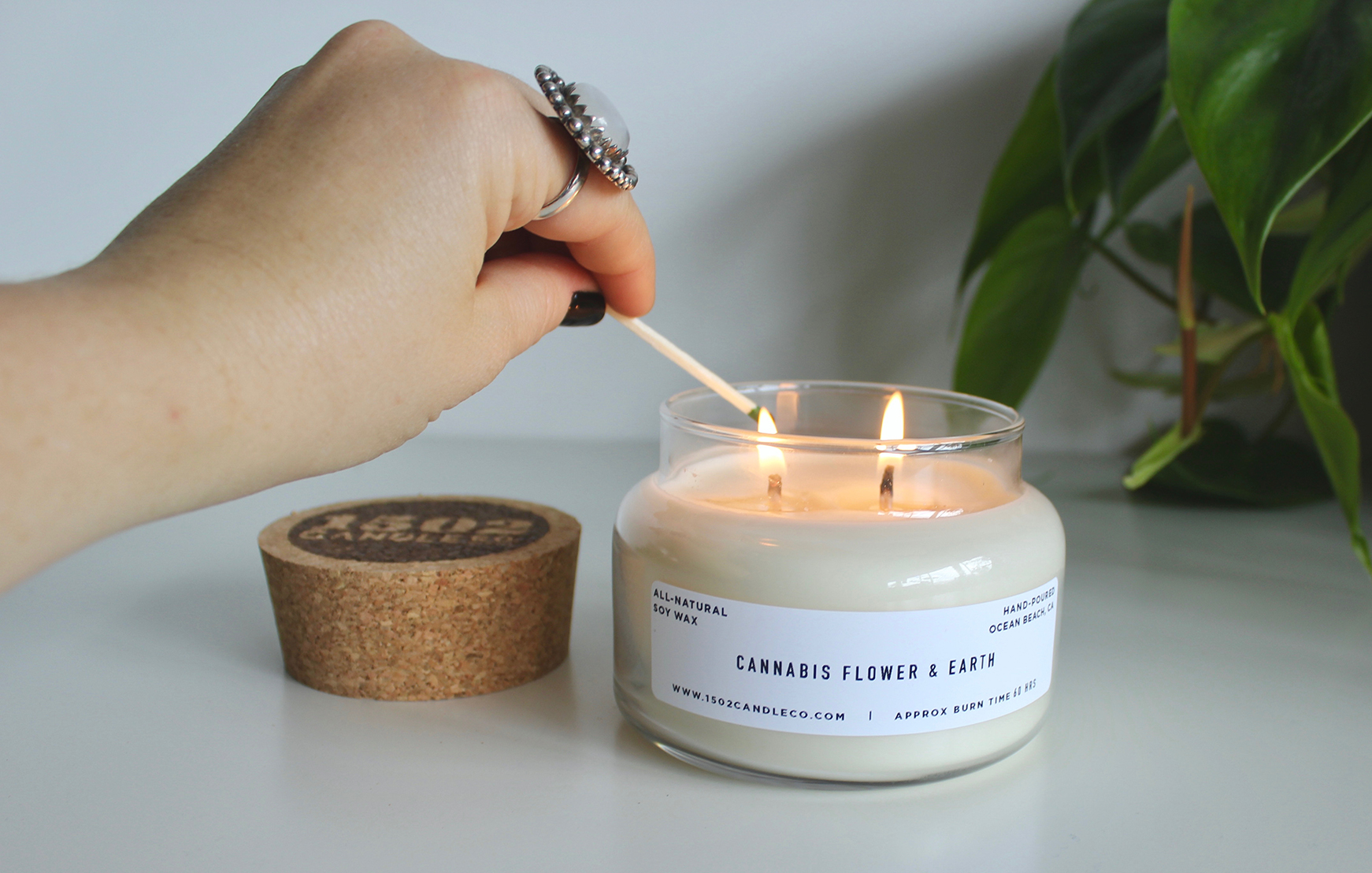 cannabis flower & earth soy wax candle