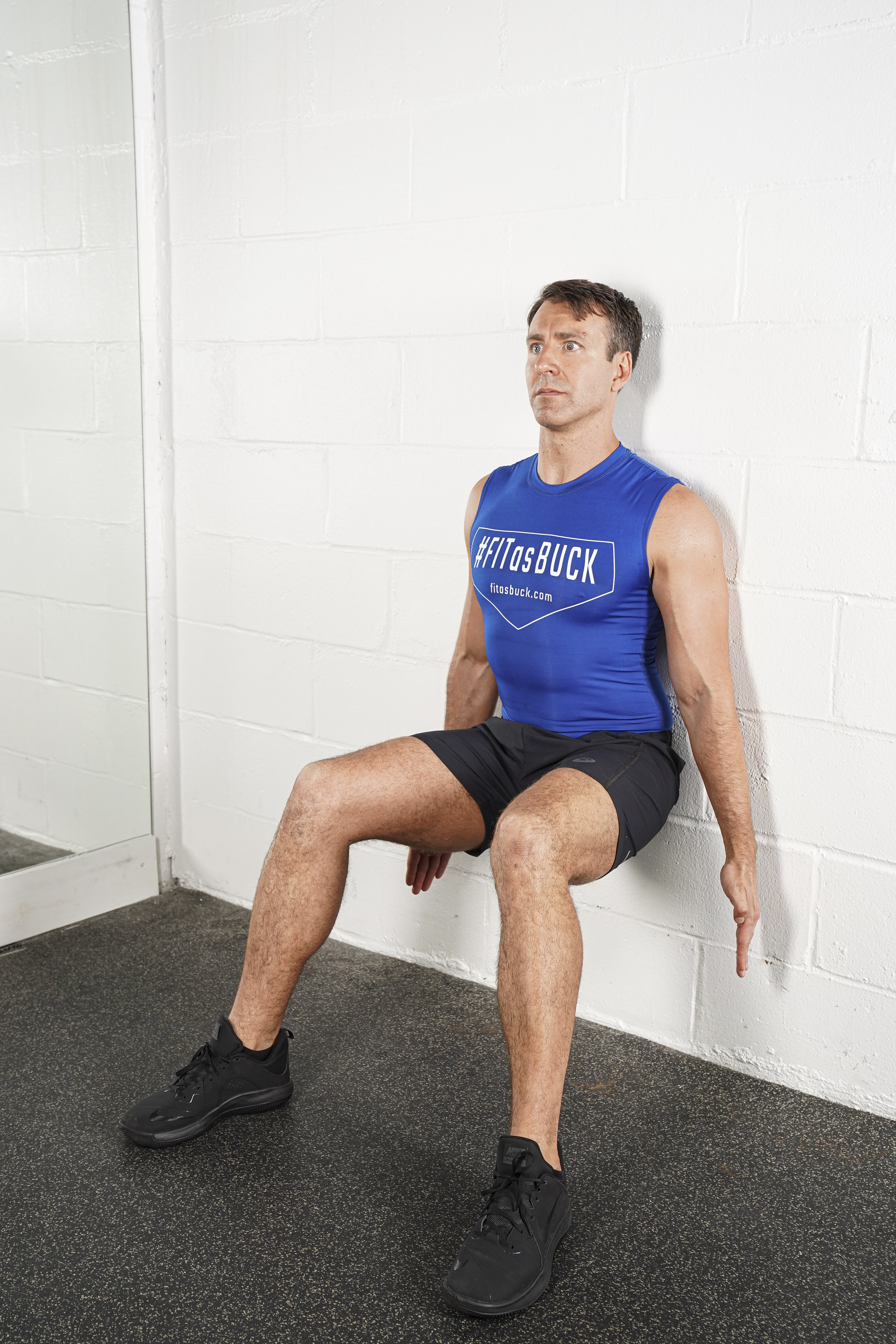 Wall Squat Hold - - DURATION: 30 secondsNotes:Be sure feet are out far enough in front of body that knees are not over your toes.