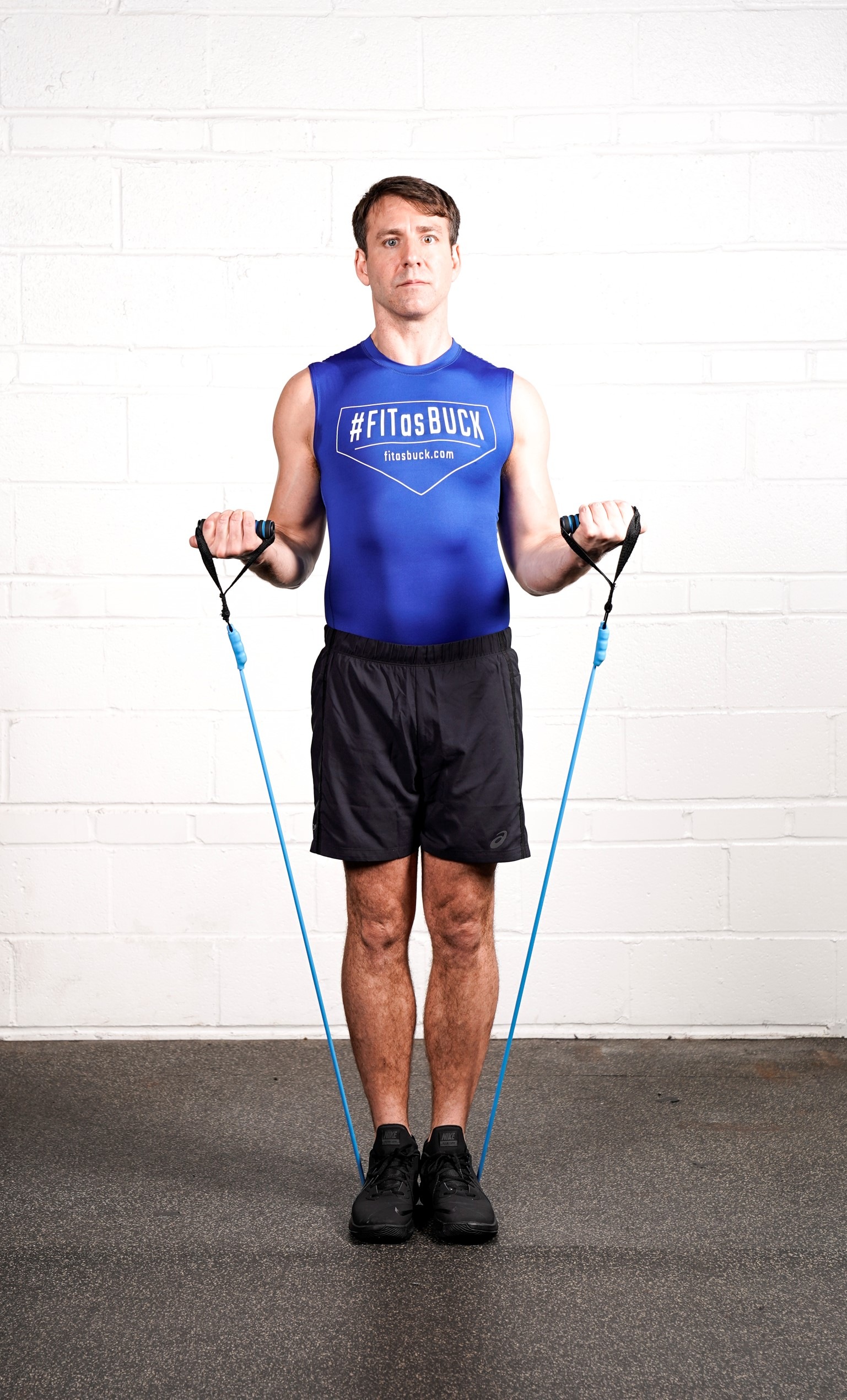 Resistance Band Biceps Curl Hold (Halfway) - - DURATION: 30 seconds- SETS: 1